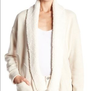 Splendid Plush Trimmed Cream Cardigan Small